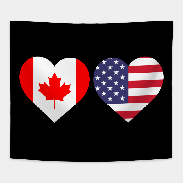 canada american flag heart canadian maple leaf lover design canada