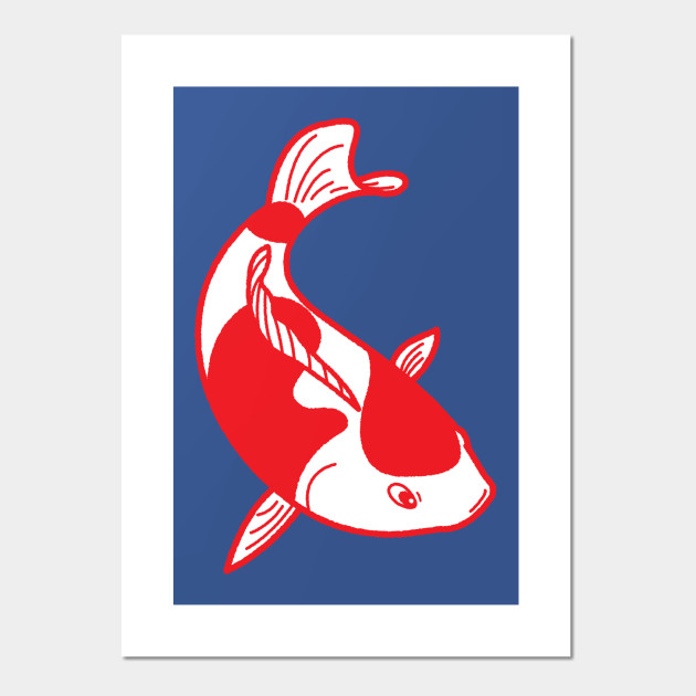 Asian koi red poster print