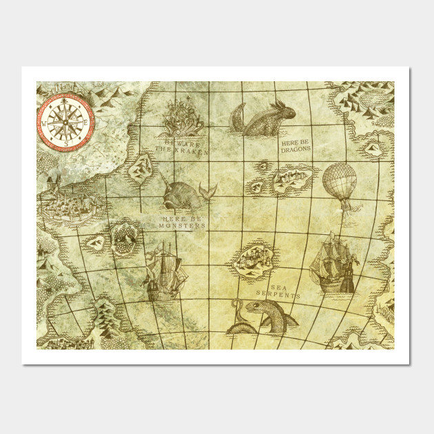Sea Monsters Map - Old Map - Wall Art | TeePublic
