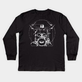 2ee7422299362d Vitruvian Man Drum Kit Kids Long Sleeve T-Shirt