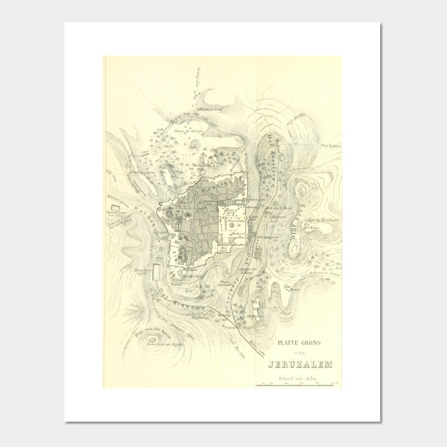 Vintage Map of Jerusalem Israel (1859) - Jerusalem Map - Posters and ...
