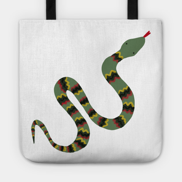 Green Garden Snake Cartoon With Yellow Red And Black Zig Zag