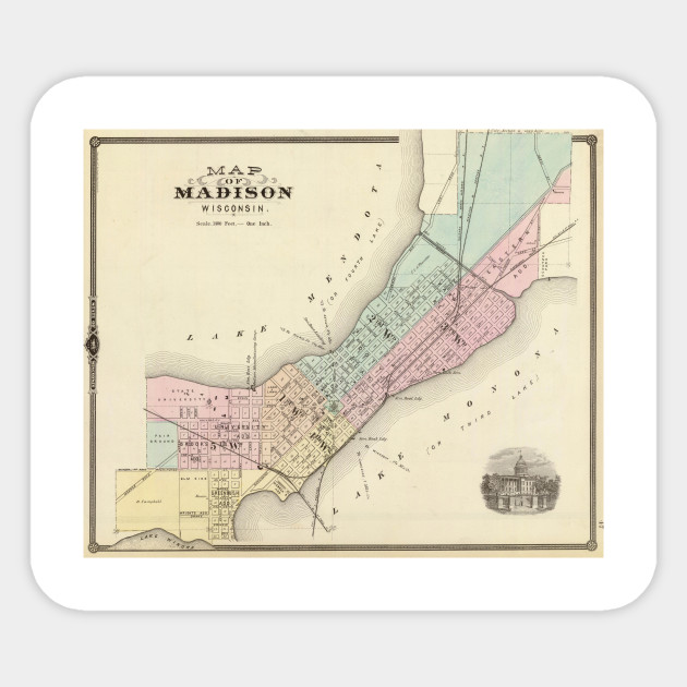 Vintage Map of Madison WI (1878) - Madison Wisconsin Map - Sticker ...
