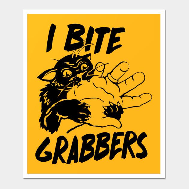 I BITE GRABBERS Angry Kitty Vintage Style - Cats - Wall Art   TeePublic