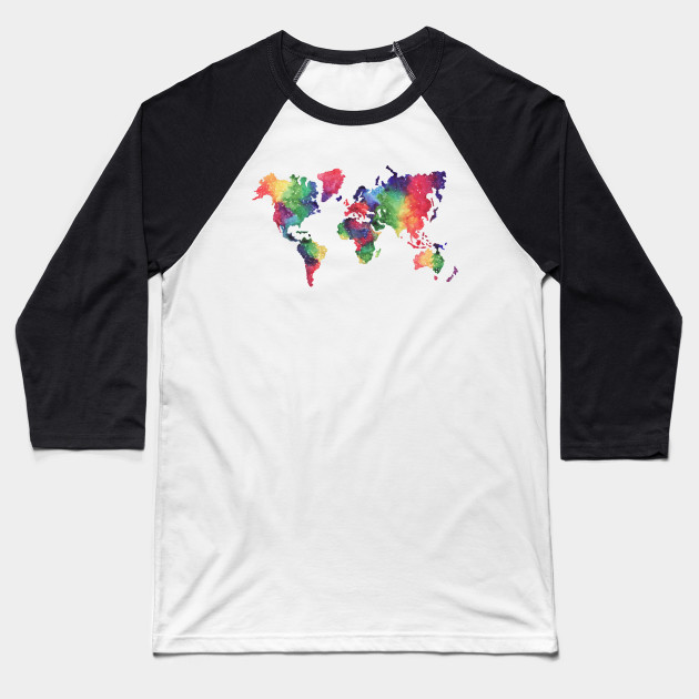 Rainbow World Map World Map Baseball T Shirt Teepublic