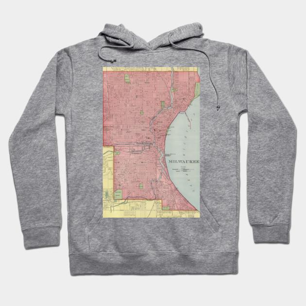 Vintage Map Of Milwaukee Wisconsin Milwaukee Map Hoodie - Vintage milwaukee map