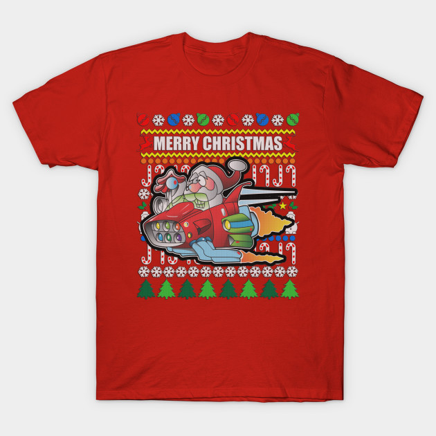 Ugly Sweater Hot Rod Santa - Christmas Ugly Sweater - T-Shirt ...