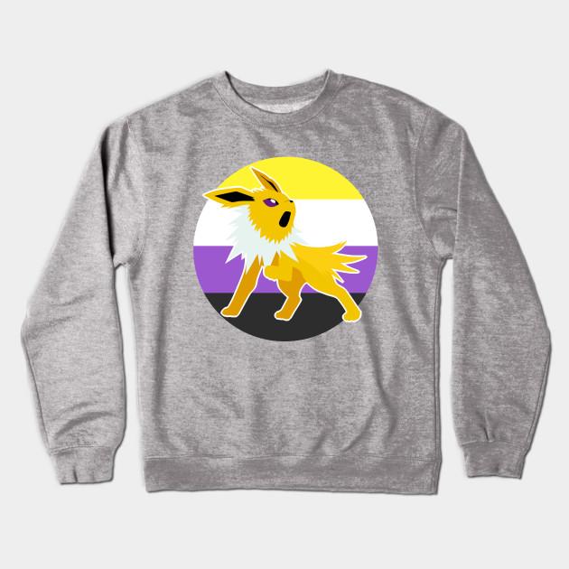 962e1fc6 Jolteon Nonbinary Pride LGBT - Pokemon - Crewneck Sweatshirt   TeePublic