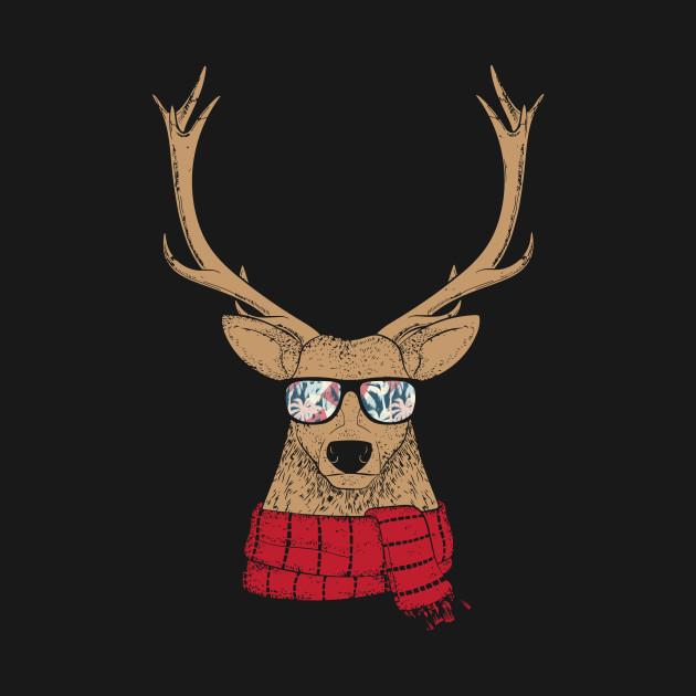 Christmas Reindeer.Awesome Christmas Reindeer With Cool Glasses