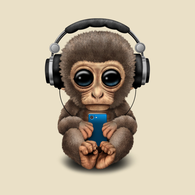 Cute Baby Monkey With Cell Phone Wearing Headphones Monkey T