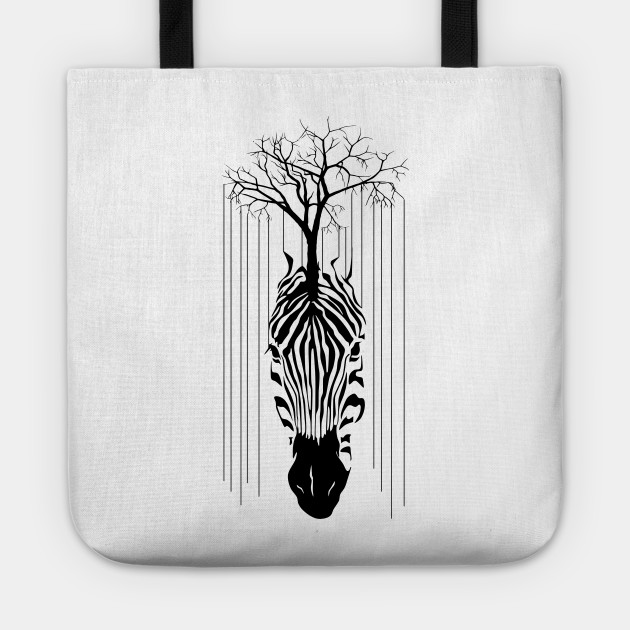 Animal Zebra Line Of tree Black and White