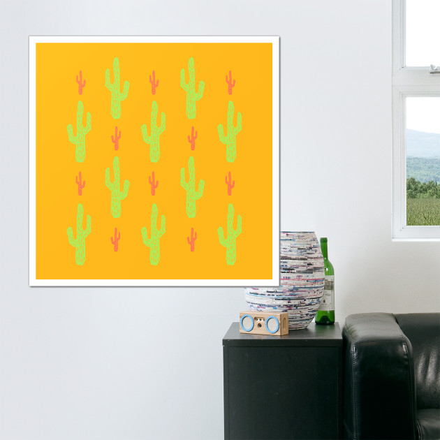 Green and red cactus pattern - Cactus - Wall Art   TeePublic