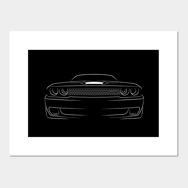 Dodge Challenger Srt Hellcat Front Stencil White Muscle Car