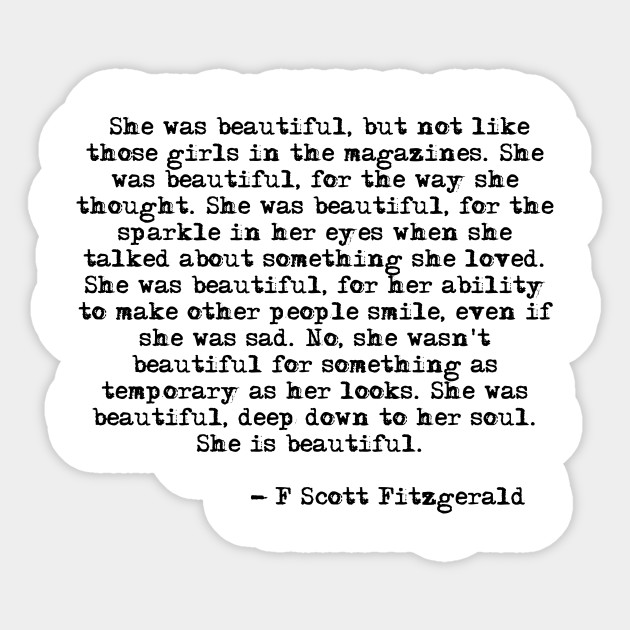 She Was Beautiful Fitzgerald Quote F Scott Fitzgerald Sticker