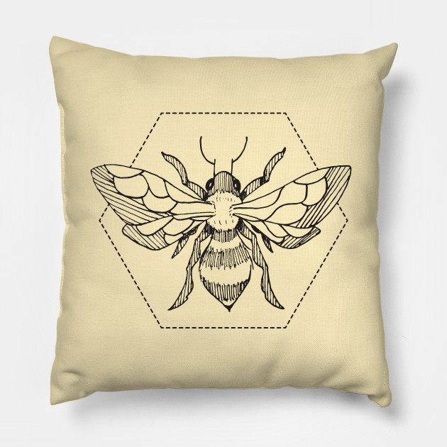 ea965adf Pen & Ink Bee Tattoo - Bees - Pillow | TeePublic
