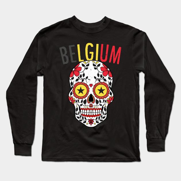 Calavera Belgium World Cup Team Flag Soccer Jersey Belgique 2018 Long  Sleeve T-Shirt 29d1d4c37