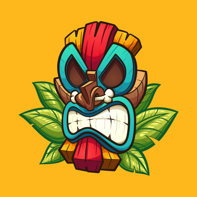 Angry tiki mask - Tiki Mask - T-Shirt | TeePublic