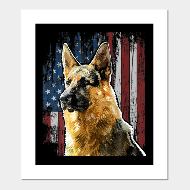 Patriotic German Shepherd American Flag