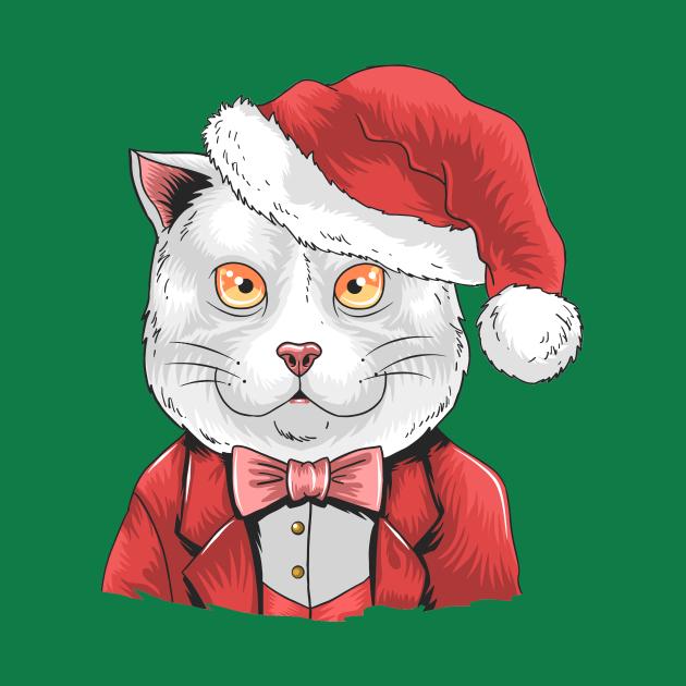 Cat Santa Hat Christmas