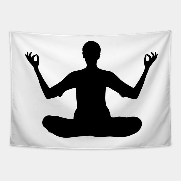 Yoga Silhouette Meditate Tapestry Teepublic