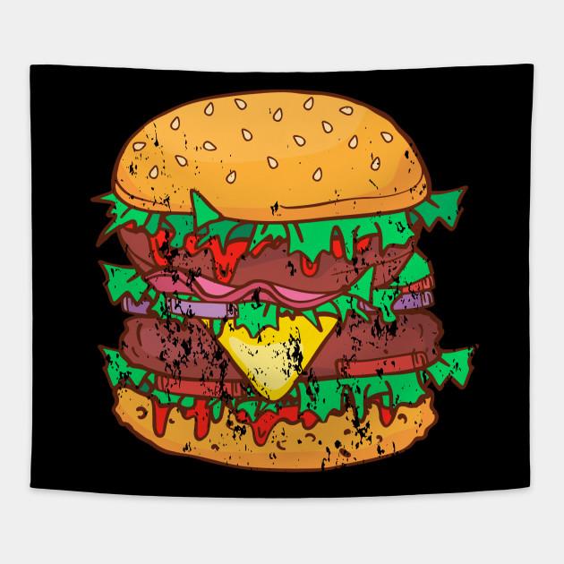 Burger BBQ Barbecue Retro Vintage Grunge