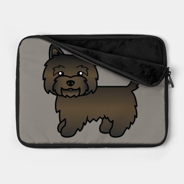 Dark Brindle Cairn Terrier Dog Cute Cartoon Illustration