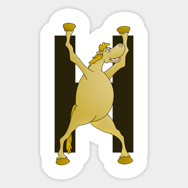 pony monogram letter h educational sticker teepublic