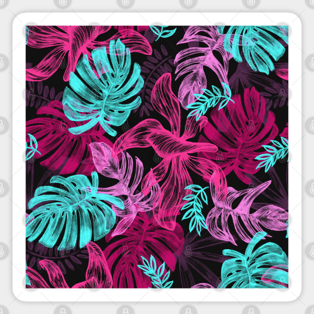Neon Tropical Leaves Summer Pattern Leaves Sticker Teepublic Female hand, showing beauty and skin care symbolism and holding paper craft pink palm leaves. teepublic