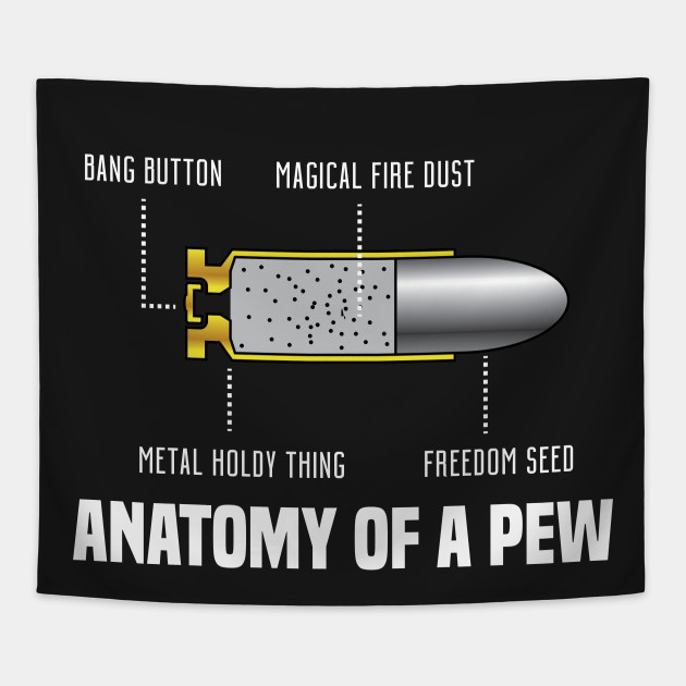 The Anatomy Of A Pew Bullet Tapestry Teepublic