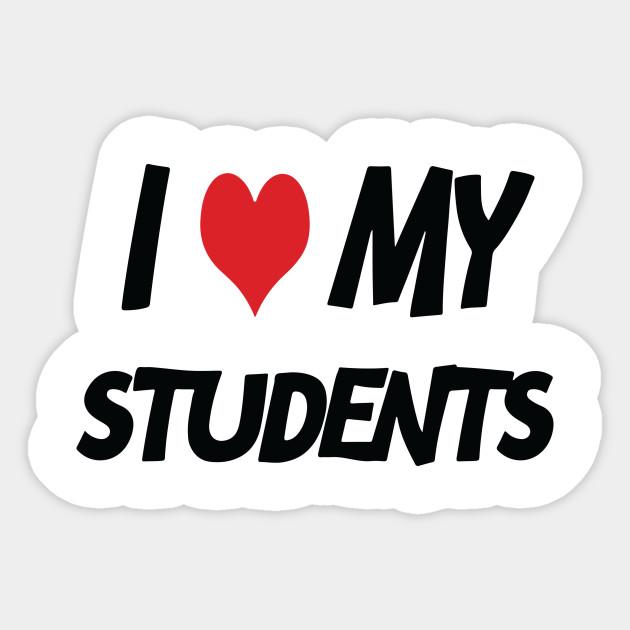 I love my students - I - Pegatina | TeePublic MX