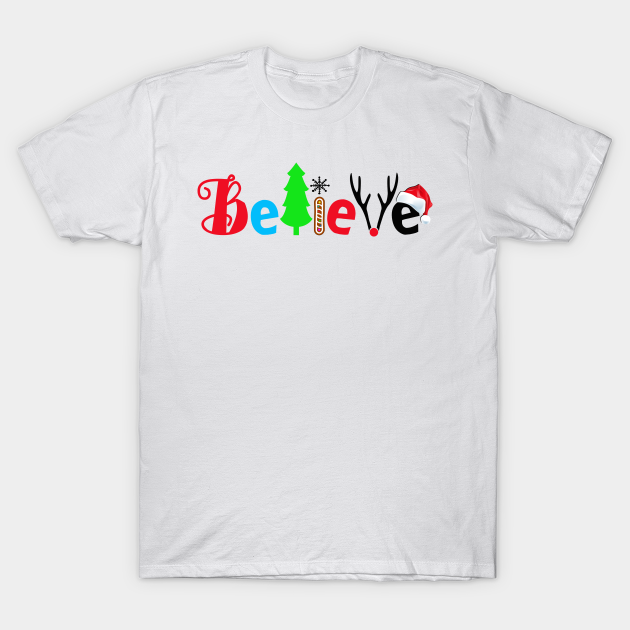 Details about  /T Shirt believe merry christmas holiday wishes gift funny cool