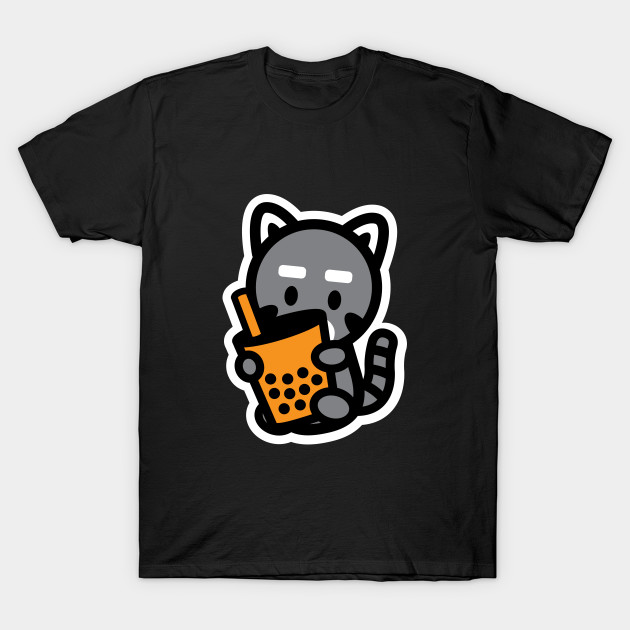 Raccoon Trash Panda Bubble Thai Milk Tea Boba Pearl Animal Bambu Brand T-Shirt