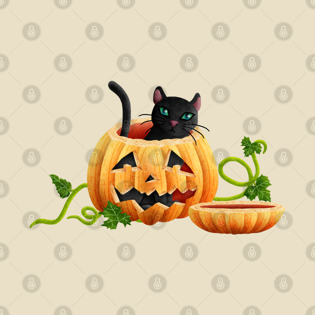 Cat sitting in a Halloween pumpkin