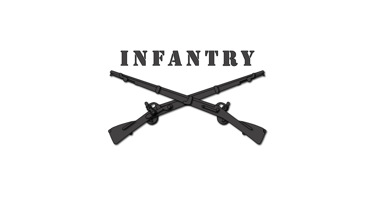 army - infantry br - crossed rifles blk with txt