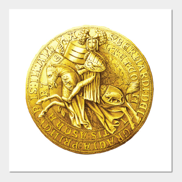 Gold Medieval Coin Abstract Art