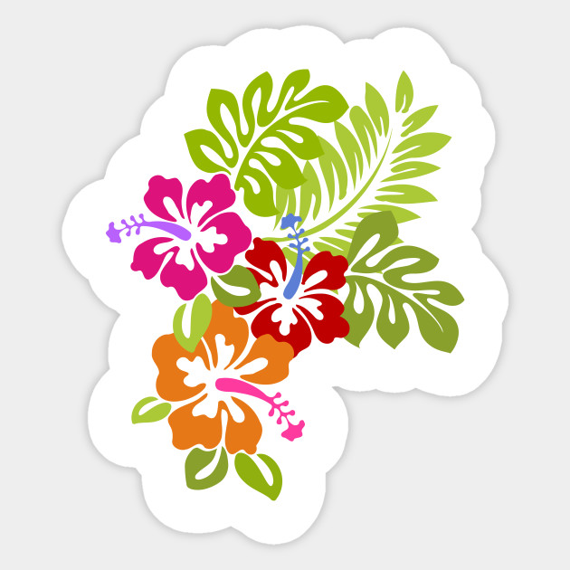Tropical Hibiscus Flowers Bouquet - Hibiscus Flower - Sticker ...