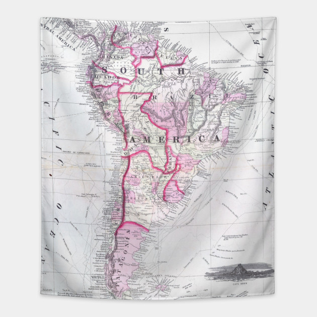 Map Of America In 1861.Vintage Map Of South America 1861 South America Map Tapestry