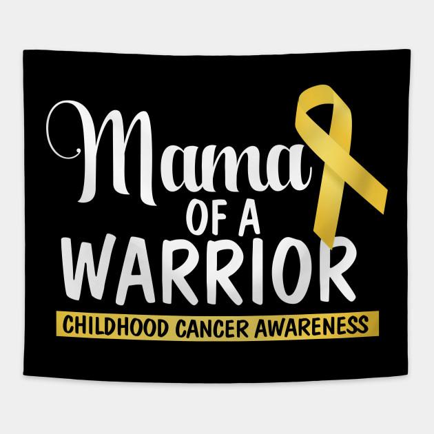 9bdf2da57fa Mama Of A Warrior Childhood Cancer Tshirt Gold Ribbon