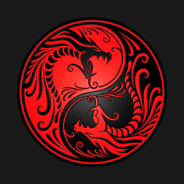 Red And Black Yin Yang Dragons