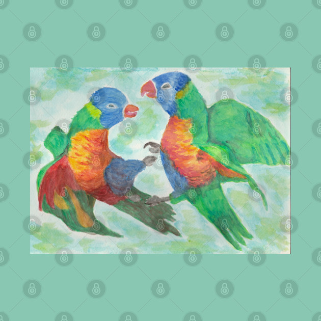 Colorfull parrots fight