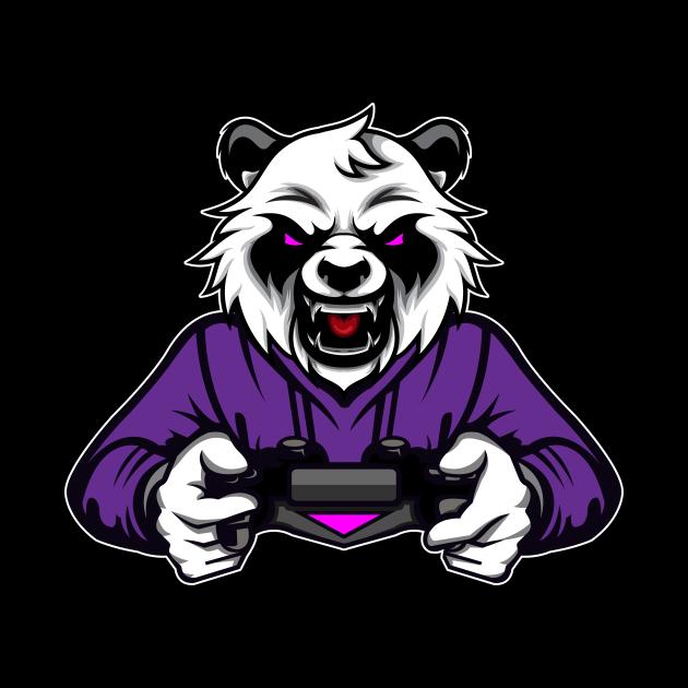 Panda Bear gaming console gambler nerd gamer video game