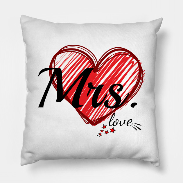 Cuscini Mr Mrs.Mrs And Mr Love Set His And Hers Love Heart Couple Gift Lovers