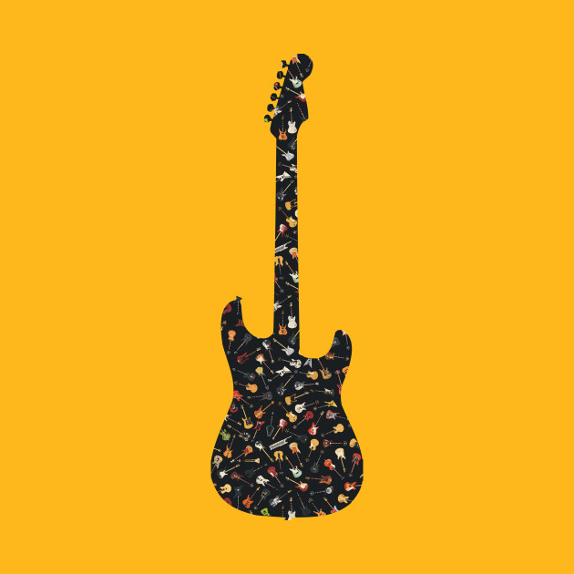 Guitar Silhouette Filled with Guitars on Black - Guitar - T-Shirt ...