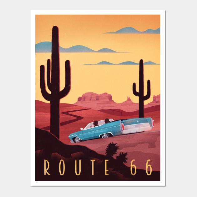 Route 66 - Route 66 - Wall Art   TeePublic