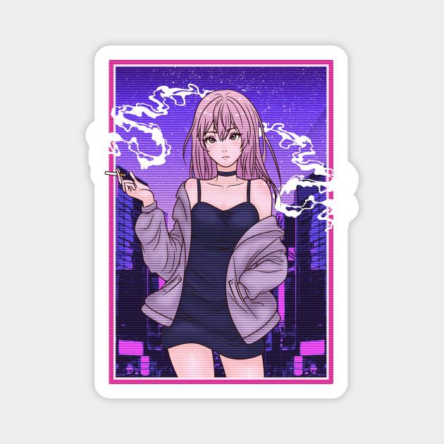 Aesthetic Vaporwave Anime Babe Aesthetic Magnet Teepublic Au