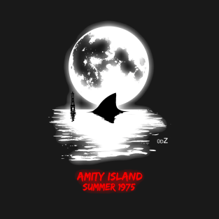 Jaws full moon graphic t-shirts