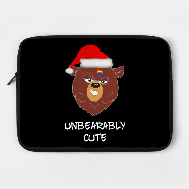 Cute LGBTQ Bear Christmas Gay Unbearably Cute Funny Holiday Saying