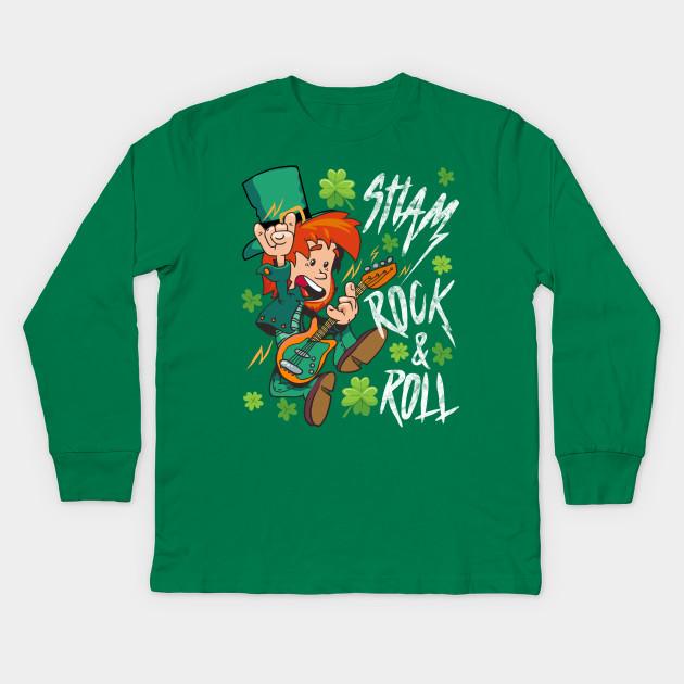 32cc45a3d Shamrock and Roll Leprechaun St. Patrick's Day Rock Music Fan Gift Kids  Long Sleeve T-Shirt