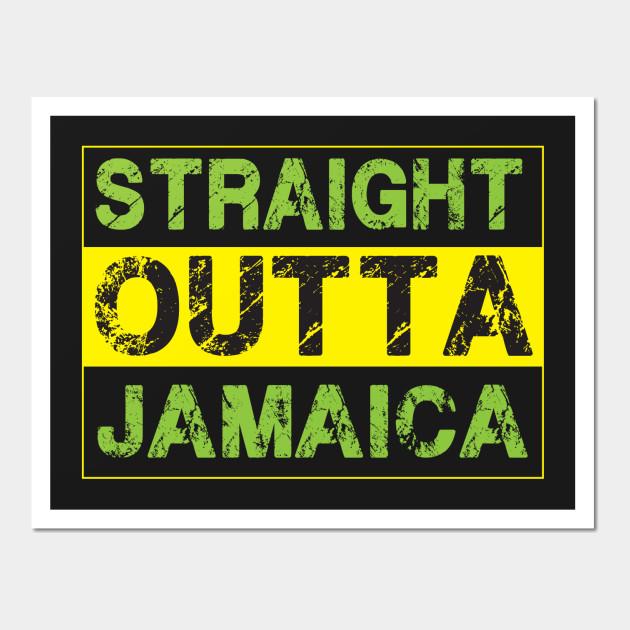 Straight Outta Jamaica - Proud Jamaican T Shirt - T - Wall Art ...
