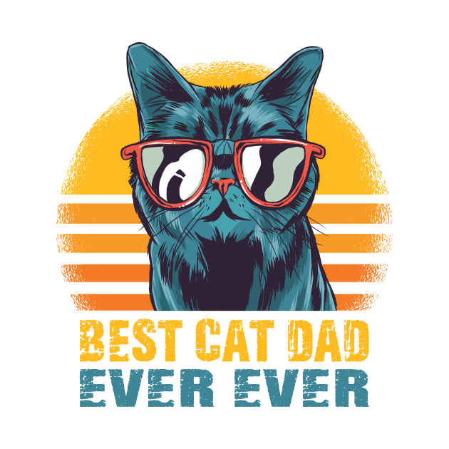 Best Cat Dad Ever T-Shirt Funny Cat Dad Father Vintage Gift